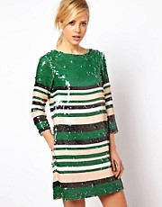 ASOS Shift Dress In Stripe Sequin