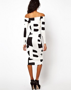 Image 2 ofASOS Typography Midi Dress With Off Shoulder