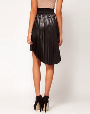 Image 2 ofASOS Dipped Hem Skirt in High Shine