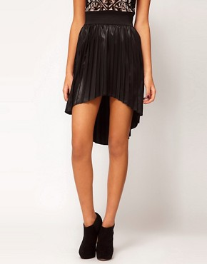 Image 4 ofASOS Dipped Hem Skirt in High Shine