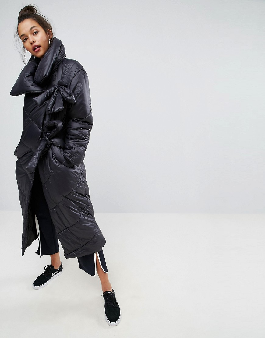 ASOS Longline Puffer Coat With Funnel Neck and Ties - Black