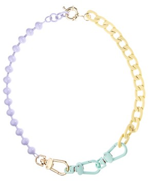 Image 2 ofASOS Pastel Coated Mixed Chain Necklace