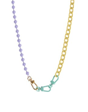 Image 1 ofASOS Pastel Coated Mixed Chain Necklace