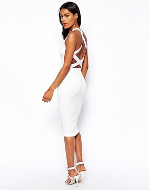 Oh My Love Plunge Neck Midi Body-Conscious Dress With Low Back
