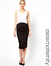 ASOS Maternity Exclusive Midi Pencil Skirt with Gold Buttons