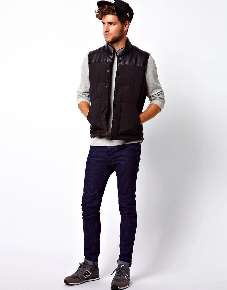 Image 4 ofASOS Quilted Gilet With Leather Look Yoke