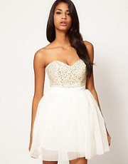 Lipsy VIP Embellished Bust Prom Dress