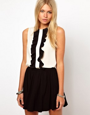 Image 1 ofASOS Sleeveless Blouse With Ruffle Front
