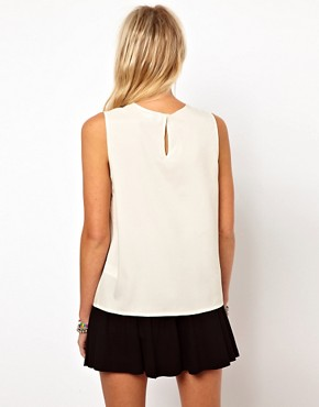 Image 2 ofASOS Sleeveless Blouse With Ruffle Front