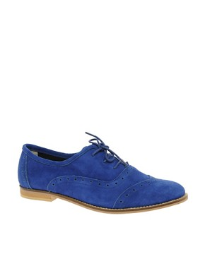 Image 1 ofASOS MALCOLM Suede Punch Out Flat Lace Up Shoe