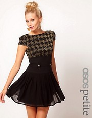 ASOS PETITE Exclusive Dress With Lurex Top And Chiffon Skirt
