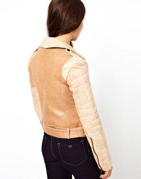 Image 2 ofCote By Improvd Distressed Leather Biker Jacket With Padded Sleeves And Belted Waist