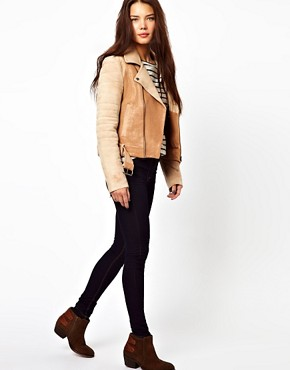 Image 4 ofCote By Improvd Distressed Leather Biker Jacket With Padded Sleeves And Belted Waist
