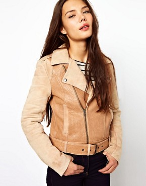 Image 1 ofCote By Improvd Distressed Leather Biker Jacket With Padded Sleeves And Belted Waist