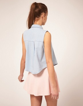Image 2 of American Apparel Sleeveless Denim Shirt