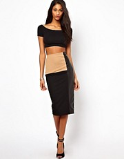 ASOS Pencil Skirt with Contrast PU Panel