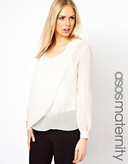 ASOS Maternity Blouse with Drop Collar and Detail Front