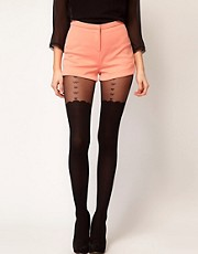 ASOS Heart &amp; Bow Suspender Sheer Tights