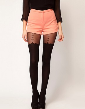Image 1 ofASOS Heart &amp; Bow Suspender Sheer Tights