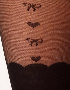 Image 2 ofASOS Heart &amp; Bow Suspender Sheer Tights