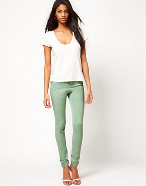 Image 4 ofASOS Skinny Jeans In Soft Turquoise