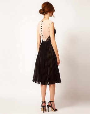 Image 2 ofWarehouse Lace Panel Midi Dress