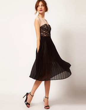 Image 4 ofWarehouse Lace Panel Midi Dress