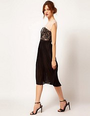 Warehouse Lace Panel Midi Dress