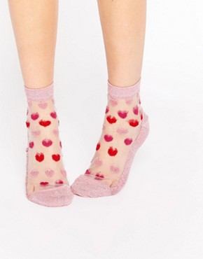ASOS Sheer Glitter Heart Socks