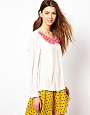 Max C Blouse With Rose Collar