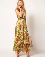 Traffic People Silk Maxi Dress In Rose Print