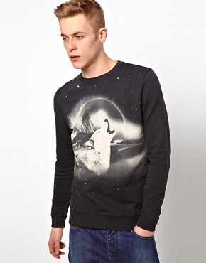 Image 1 ofASOS Sweatshirt With Wolf Print
