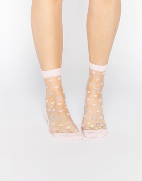 ASOS Sheer Pastel Polka Dot Ankle Socks