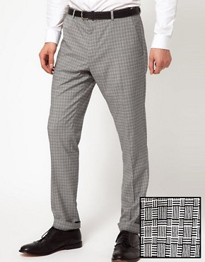 Image 1 ofASOS Skinny Fit Suit Trousers in Geo Design