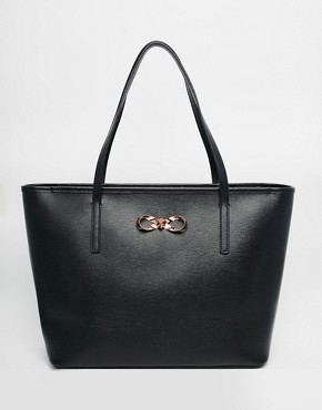 Ted Baker Crosshatch Bow Shopper With Matching Pouch