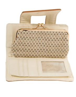 Image 4 ofRiver Island Cream Textured Granny Purse