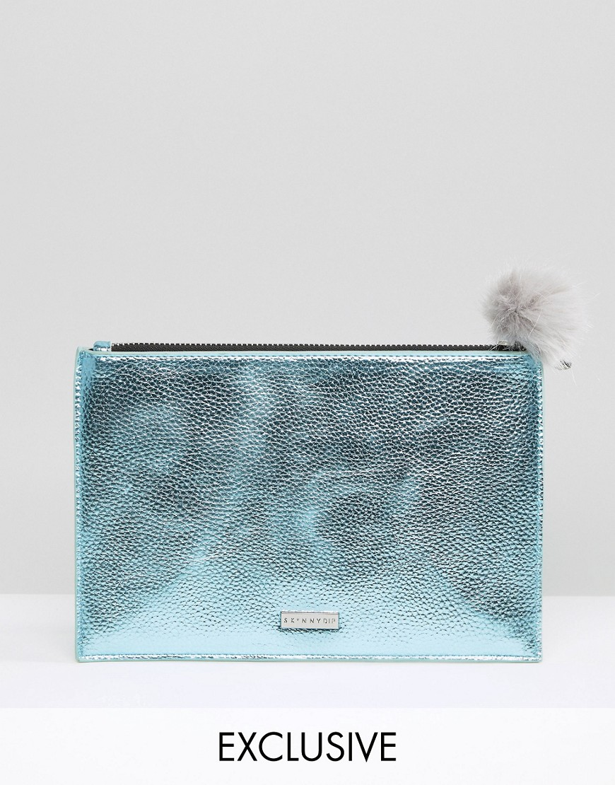 Skinnydip Exclusive Zip Top Clutch Bag in Metallic Blue with Gray Pom - Blue