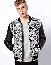 ASOS - Bomber con maniche in pelle sintetica