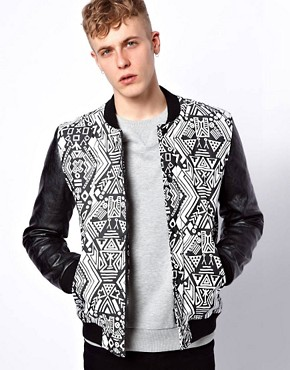 Image 1 ofASOS Bomber Jacket With Faux Leather Sleeves
