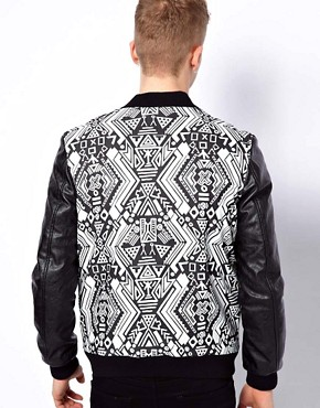 Image 2 ofASOS Bomber Jacket With Faux Leather Sleeves