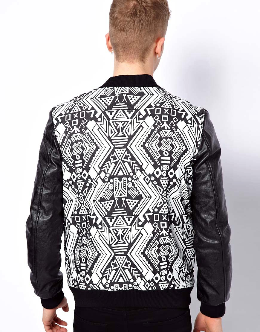 Image 2 of ASOS Bomber Jacket With Faux Leather Sleeves