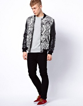 Image 4 ofASOS Bomber Jacket With Faux Leather Sleeves