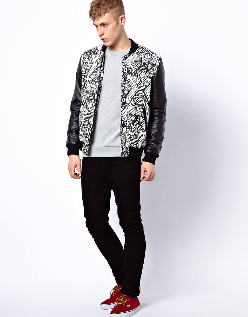 Image 4 of ASOS Bomber Jacket With Faux Leather Sleeves