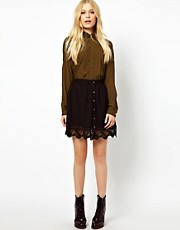 River Island Button Through Mini Skirt