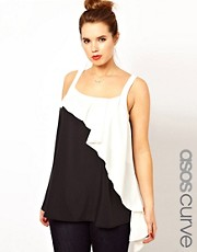 ASOS CURVE Exclusive Cami In Colour Block with Waterfall