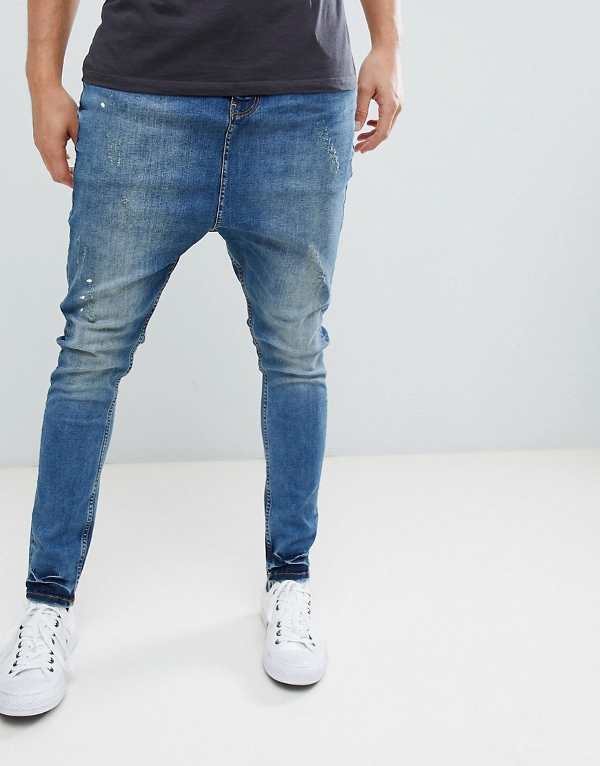 ASOS Drop Crotch Jeans With Rip And Repair Detail - Blue