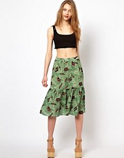 Viva Vena Mind Reader Two Tier Midi Skirt in Tribal Oblique Print