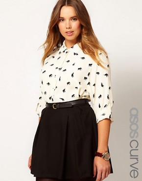 Image 1 ofASOS CURVE Exclusive Shirt In Elephant Print