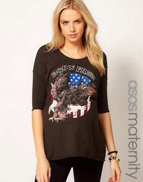 Image 1 ofASOS Maternity Dipped Back Top With Born Free Print