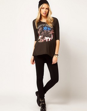 Image 4 ofASOS Maternity Dipped Back Top With Born Free Print